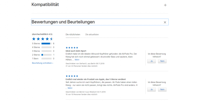 The rating range for the Airpods Pro on the Apple Store website November 11, 2019. This area has been removed from Apple's website. (Image: Apple / Screenshot: Golem.de)